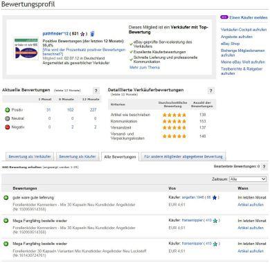 ebay-Bewertungsprofil mit Top-Bewertung